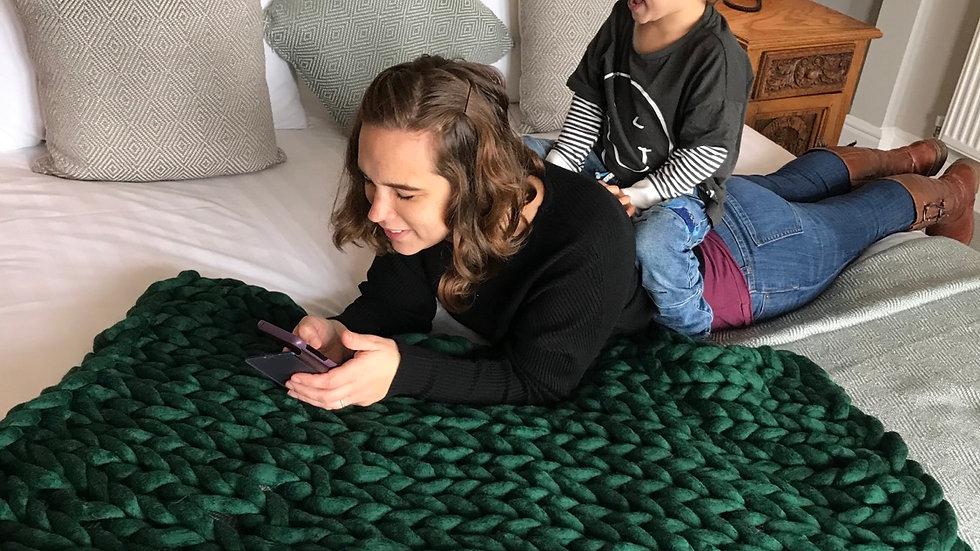 'Conifer' Corriedale lap blanket