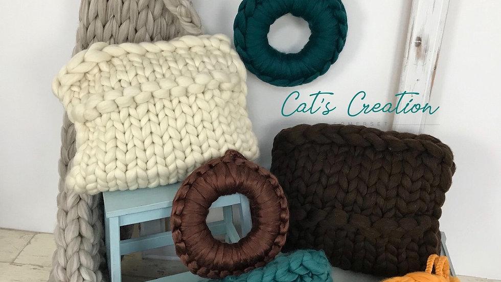 Natural brown corriedale cushion