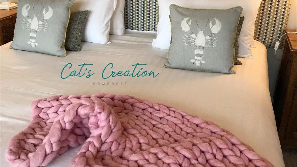 Corriedale arm knitted blanket