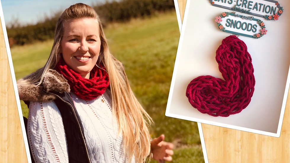 Arm knitted snood ruby