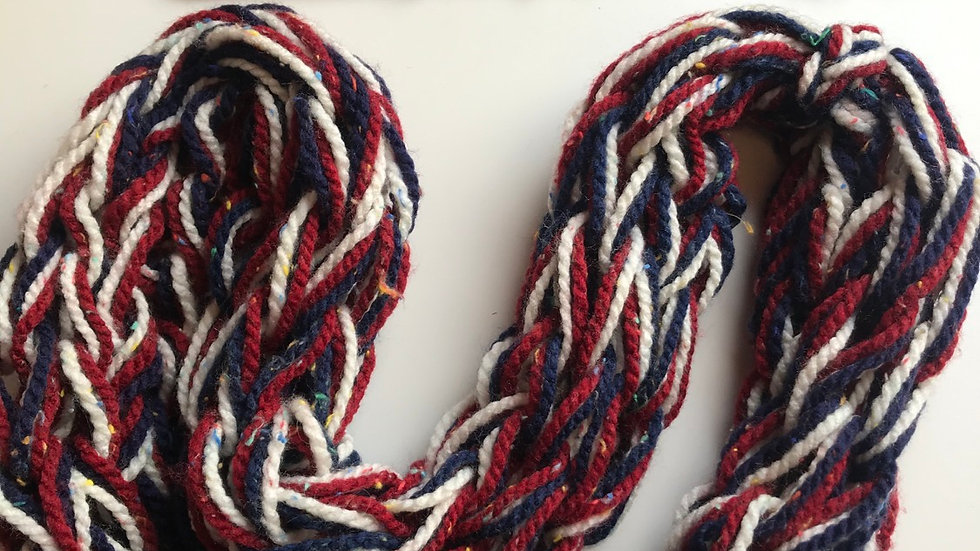 Double arm knitted snood red/white/blue