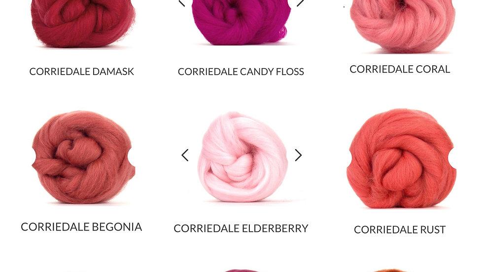 red/pink corriedale blankets