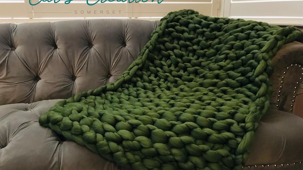 Lap blanket in olive merino wool