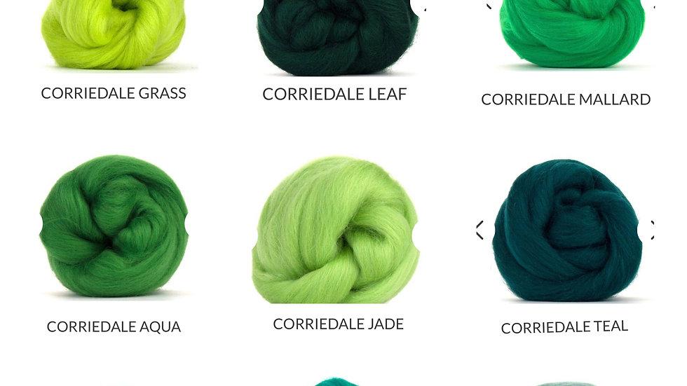 green corriedale blankets
