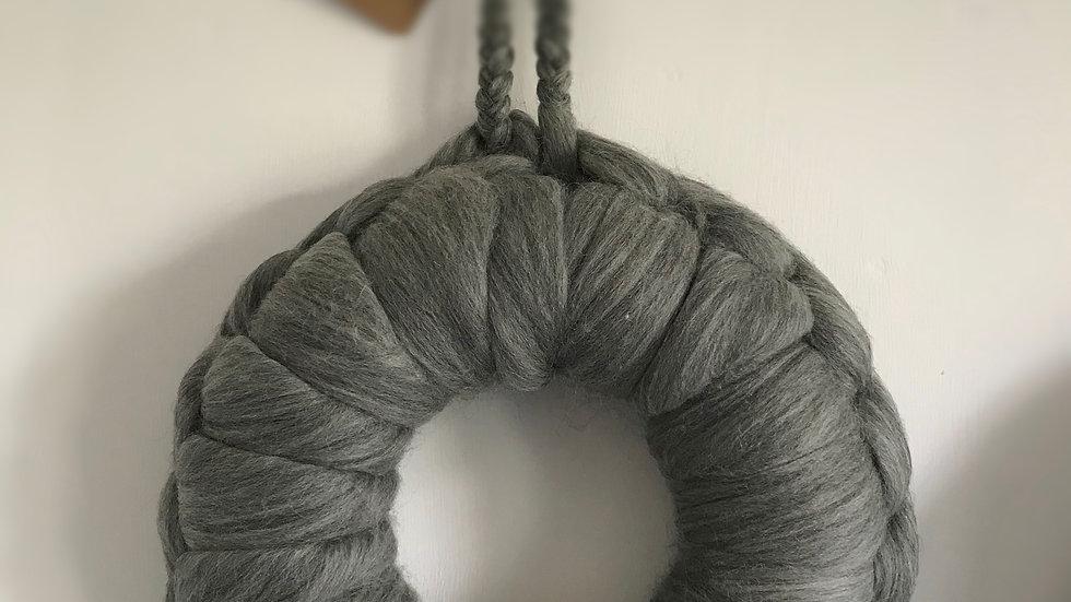 Grey Corriedale wreath