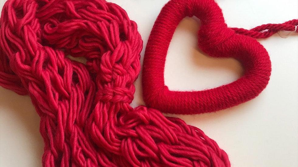 Merino double snood and woollen heart