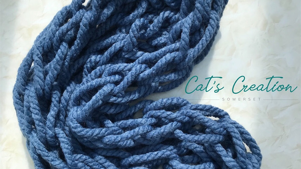 Arm knitted snood 'dusky blue'