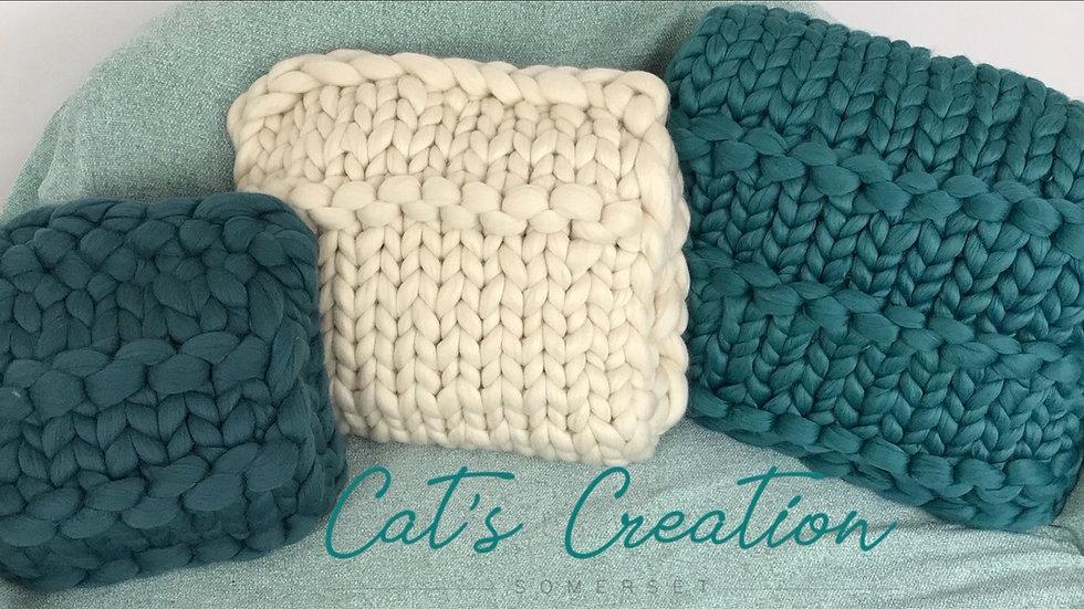 Duck egg blue merino wool cushion