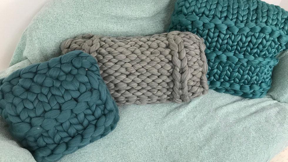 Natural grey Corriedale long cushion