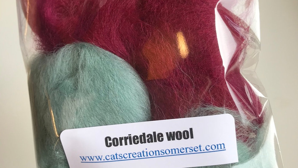 Corriedale wool scraps