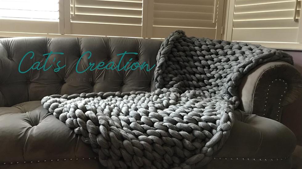 Natural grey merino sofa blanket