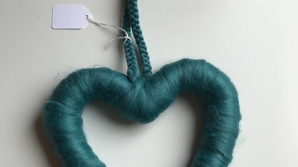 Teal woollen heart