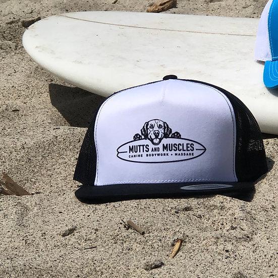 Mutts Adjustable SnapBack Flat bill Trucker Hat- YP Classics 6006 White/Black