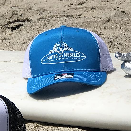 Mutts Adjustable SnapBack Trucker Hat- Richardsons Style 112  Turquoise /White