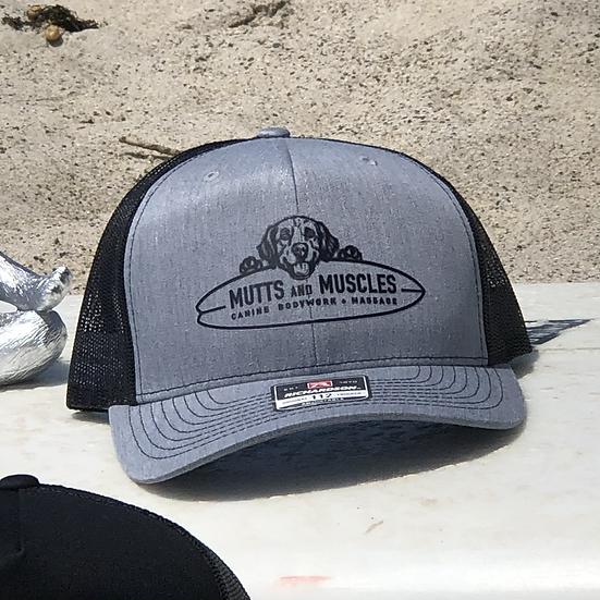 Mutts Adjustable SnapBack Trucker Hat-Richardsons Style 112  Heather Grey/Black