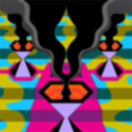Psychedelic artist, Spencer Hibert, painting, kachina, modern kachina, fractal art