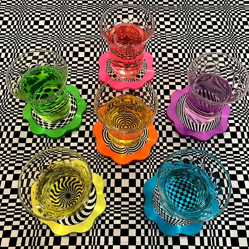 Op Art Coasters With Rainbow Shots