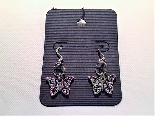 Item #734 –  stamped nickle butterfly drop earrings