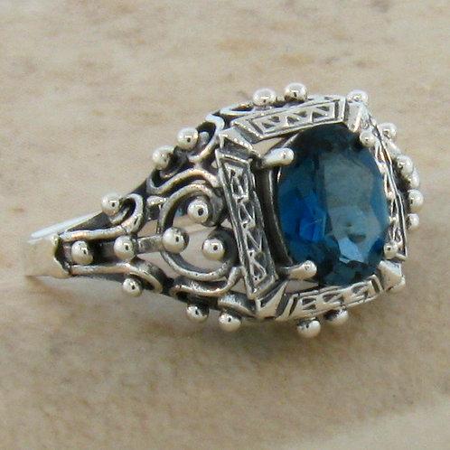 #228 – Genuine London Blue Topaz Antique Victorian Design .925 SS Ring R