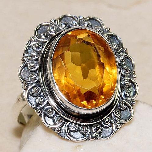 #306 – 10 carat Golden Citrine & 925 Solid SterlingSilver Ring