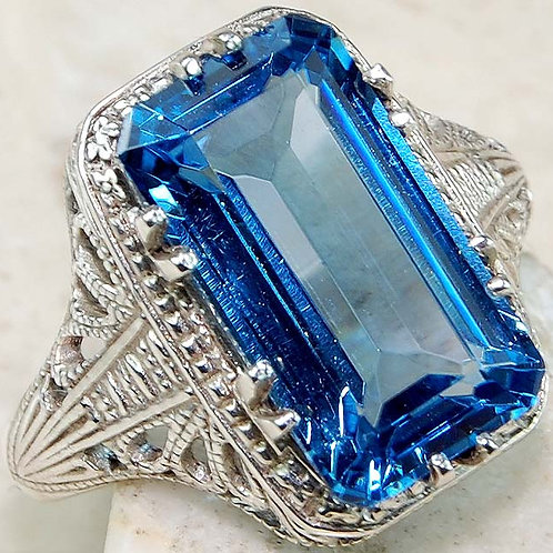 #280 – 9 carat London Blue Topaz & 925 Solid Sterling Silver filigree ring