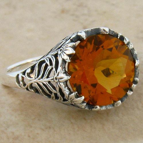 #114 - 3.50 Carat Citrine .925 Sterling Silver Antique Filigree Ring.