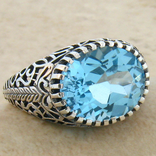 #241 – 4.5 Carat Natural Blue Topaz Antique Filigree .925 Sterling Silver Ring