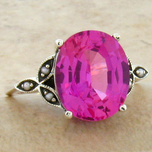 #145 - 7 Carat Pink Sapphire and Seed Pearl, & .925 SS Victorian Ring