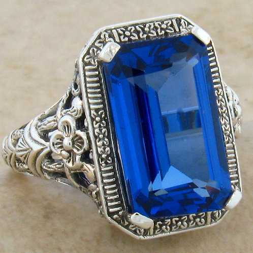 #219 – Antique Art Deco 8 Carat Blue Topaz .925 Sterling Silver Filigree Ring