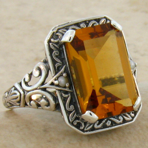 #224 – 3.50 Carat Citrine Antique Victorian .925 Sterling Silver Ring