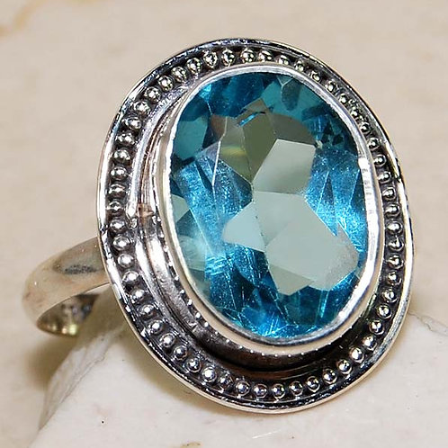 #310 –  8 carat Aquamarine & 925 Solid Sterling Silver Ring