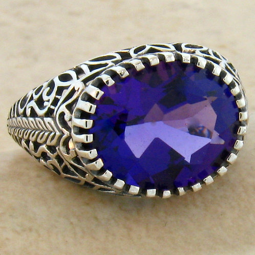 #253 – 3.50 Carat Amethyst Antique Filigree Design .925 Sterling Silver Ring