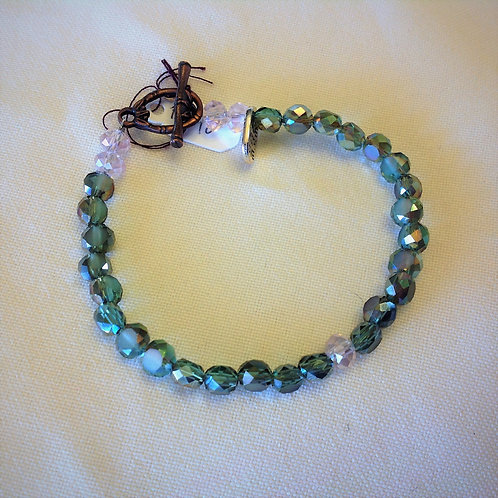 Item #542– Jade and Clear colored Cyrstals -Bracelet
