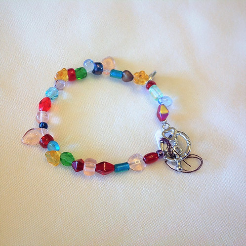 Item #1181 -Multi-colored, multi-faceted, decorative plastic beads- Bracelet