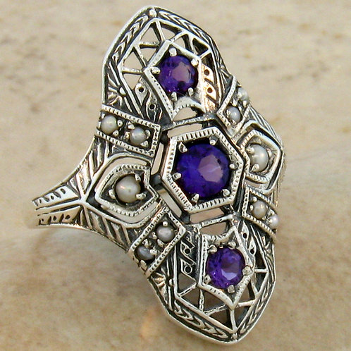 #237 – Natural Amethyst and Seed Pearl Antique Art Deco Design .925 SS Ring