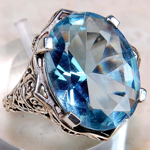 #296 – 9 carat Aquamarine & 925 Solid Sterling Silver filigree Ring