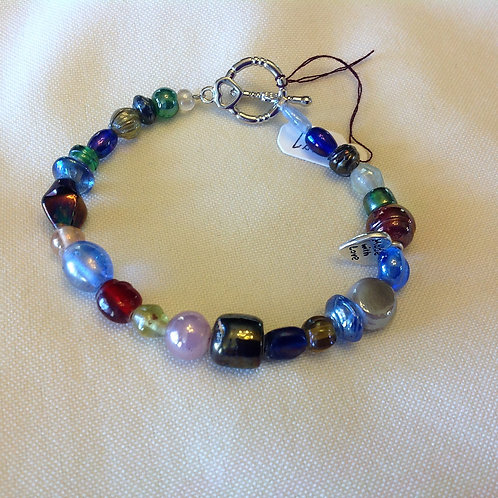 Item #1187 - Multicolored Glass Beads - Bracelet