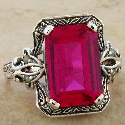 #160 - 5.50 Carat Ruby & Seed Pearl Victorian .925 Sterling Silver Ring