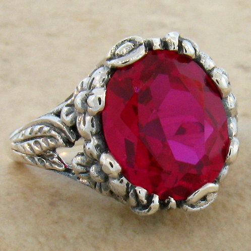 #138 - 6 Carat Ruby Antique Art Nouveau .925 Sterling Silver Ring.