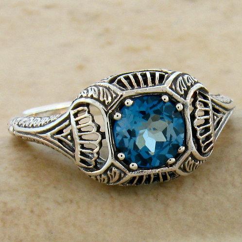 #148 - Genuine London Blue Topaz Art Deco .925 Sterling Silver Filigree Ring
