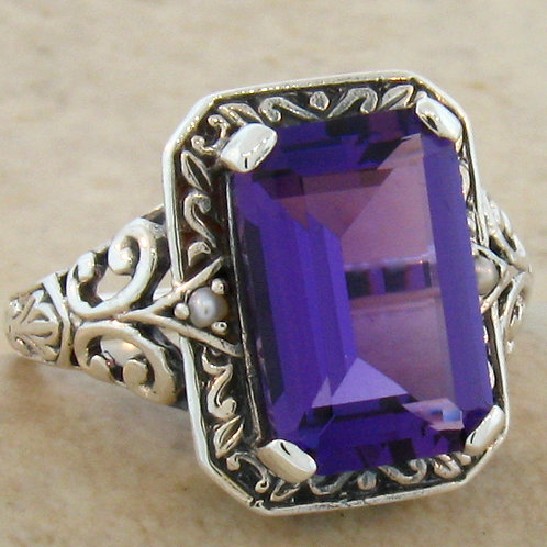 #206 – Antique Victorian 4 Carat Amethyst & Seed Pearl .925 Sterling Silver Ring