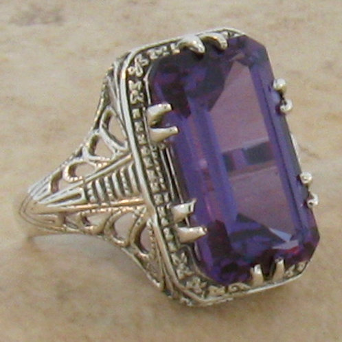 #214 – Antique Design Art Deco Period 8 Carat Color Changing Alexandrite Ring