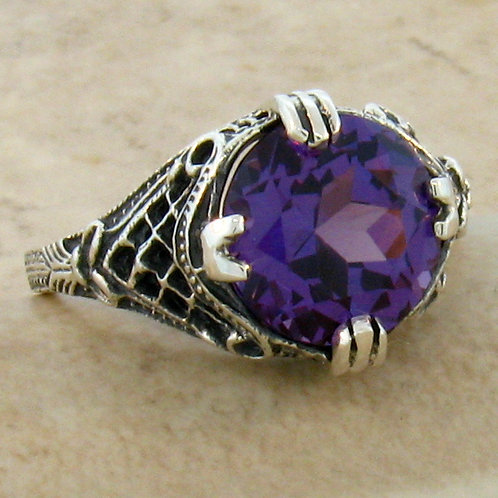 #130 - 5 Carat Color Changing Alexandrite .925 Sterling Silver Antique Art Deco