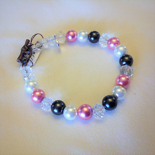 Item #536 –  Pink, White and Black Faux Pearls, and Clear Crystal Beads