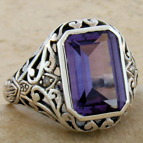 #227 – 5 Carat Color Changing Alexandrite and Seed Pearl .925 SS Ring