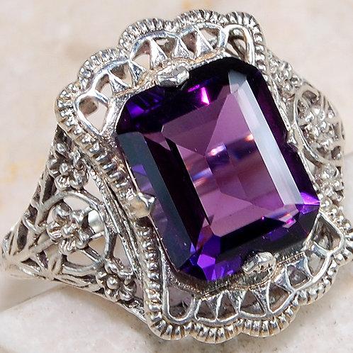 #277 – 3 carat Amethyst & 925 SolidSterlingSilverfiligree ring.