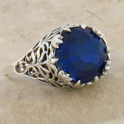 #220 – 4.5 Carat Blue Sapphire & .925 Sterling Silver Filigree Ring