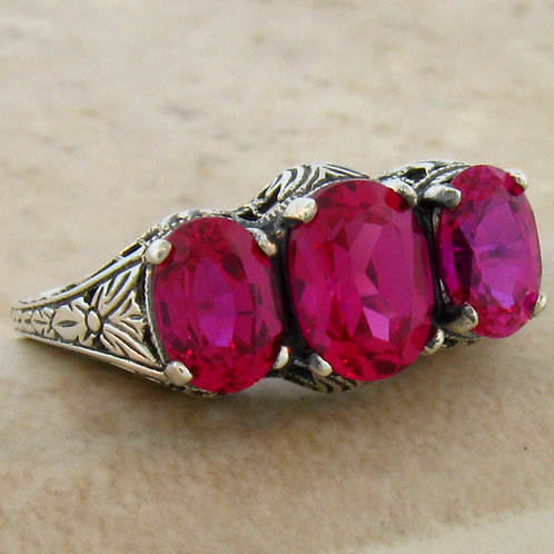 #108 - Antique Art Deco Three Stone Ruby .925 Sterling Silver Filigree Ring.