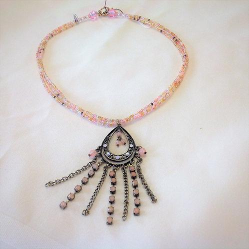 """Item #311 – Multistrand necklace with decorative 'teardrop-esq"""" pendant"""
