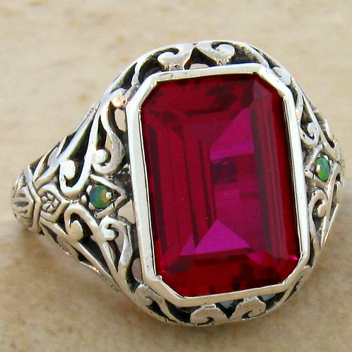 #127 - 5 Carat Ruby With Green Opal .925 Sterling Silver Antique Filigree Design